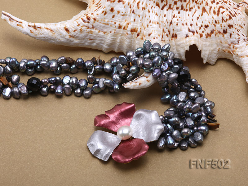 Two-strand Grey Freshwater Pearl, Black Agate Beads, Tiger-eye Chips and Metal Flower Necklace big Image 5