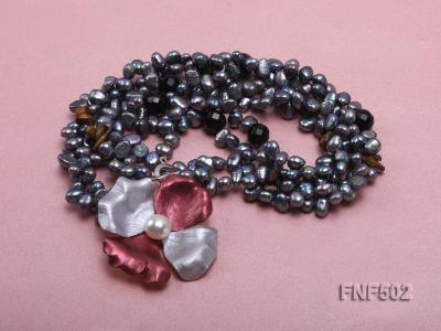 Two-strand Grey Freshwater Pearl, Black Agate Beads, Tiger-eye Chips and Metal Flower Necklace FNF502 Image 3