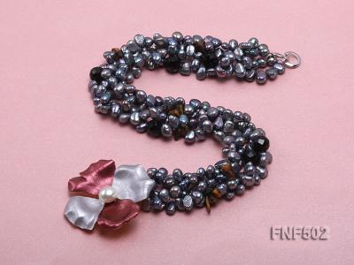 Two-strand Grey Freshwater Pearl, Black Agate Beads, Tiger-eye Chips and Metal Flower Necklace FNF502 Image 4