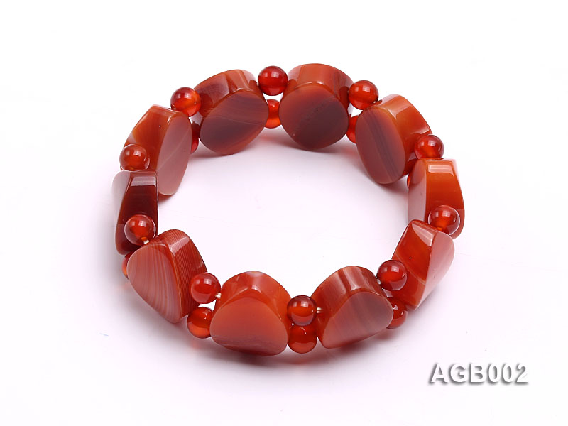6mm red round and flat agate bracelet big Image 2