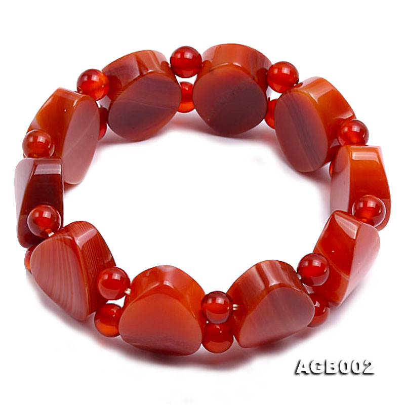 6mm red round and flat agate bracelet big Image 1