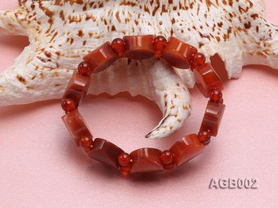 6mm red round and flat agate bracelet AGB002 Image 3