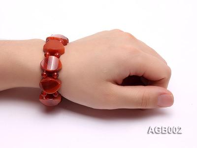 6mm red round and flat agate bracelet AGB002 Image 5
