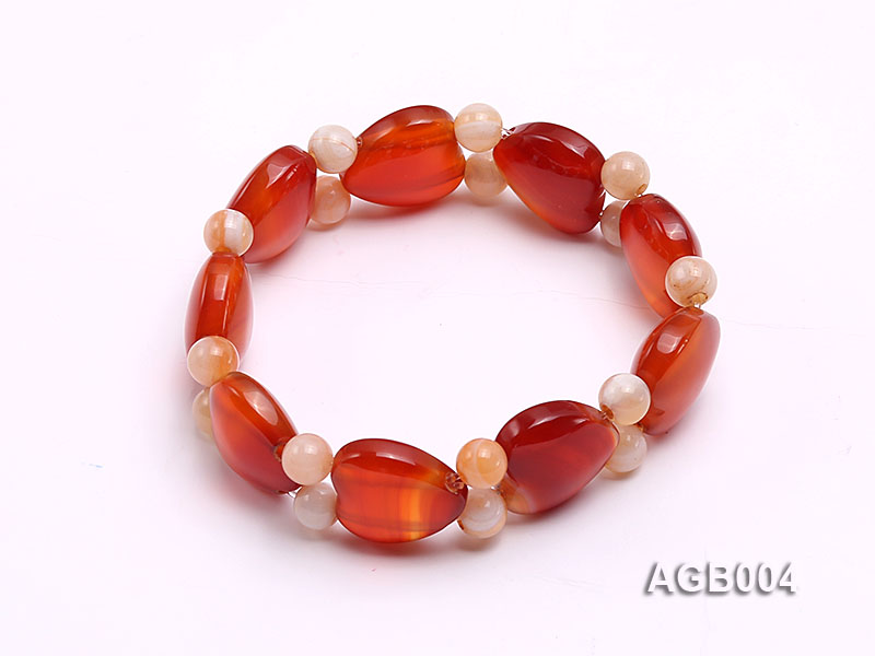 6mm red round and heart shape agate bracelet big Image 1
