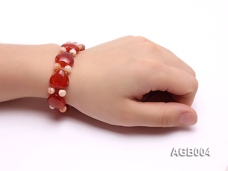 6mm red round and heart shape agate bracelet big Image 4