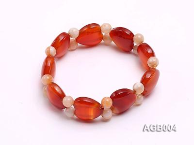 6mm red round and heart shape agate bracelet AGB004 Image 1