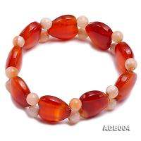 6mm red round and heart shape agate bracelet AGB004