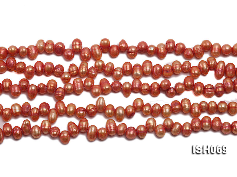 Wholesale 5x6mm Orangered Side-drilled Cultured Freshwater Pearl String big Image 2