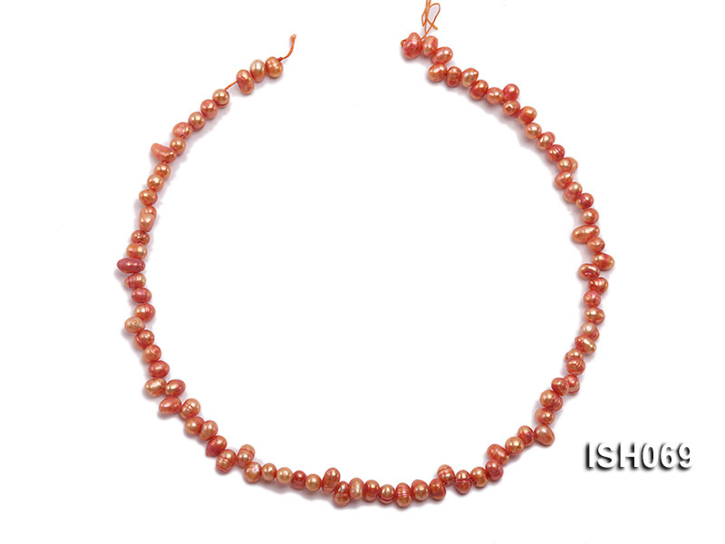 Wholesale 5x6mm Orangered Side-drilled Cultured Freshwater Pearl String big Image 3