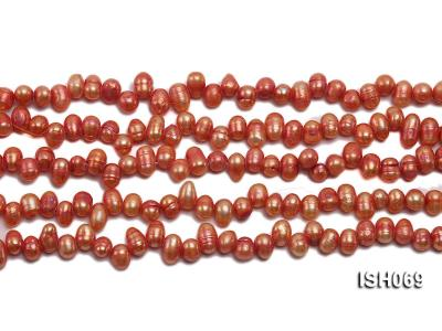 Wholesale 5x6mm Orangered Side-drilled Cultured Freshwater Pearl String ISH069 Image 2