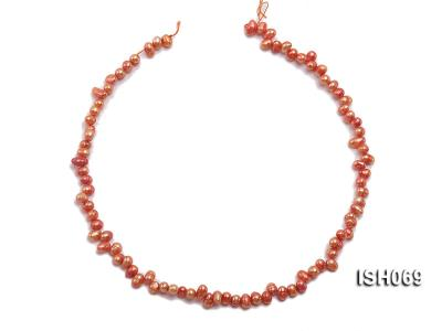 Wholesale 5x6mm Orangered Side-drilled Cultured Freshwater Pearl String ISH069 Image 3