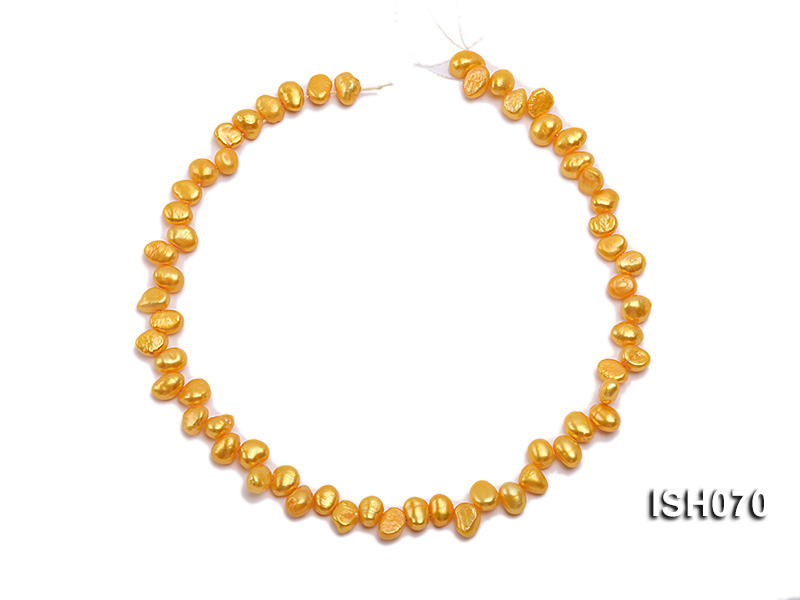 Wholesale 7x8mm Yellow Side-drilled Cultured Freshwater Pearl String  big Image 3