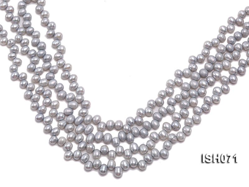Wholesale 6-7mm Silver Side-drilled Cultured Freshwater Pearl String big Image 1