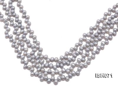 Wholesale 6-7mm Silver Side-drilled Cultured Freshwater Pearl String ISH071 Image 1