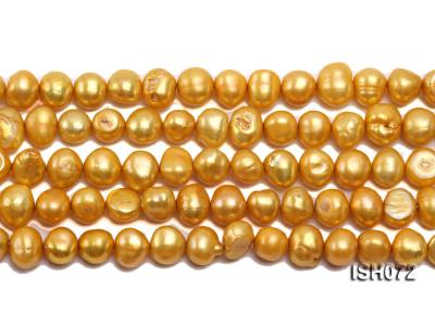 Wholesale 7x9mm Yellow Side-drilled Cultured Freshwater Pearl String ISH072 Image 2
