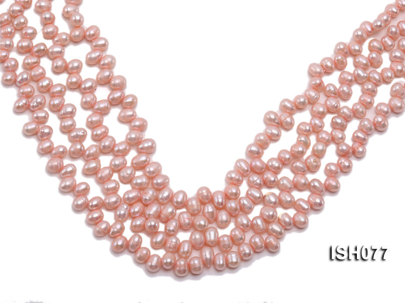 Wholesale 6x7mm Pink Side-drilled Cultured Freshwater Pearl String big Image 1
