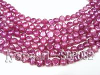 Wholesale 6-8mm Red Violet Flat Cultured Freshwater Pearl String SBP082