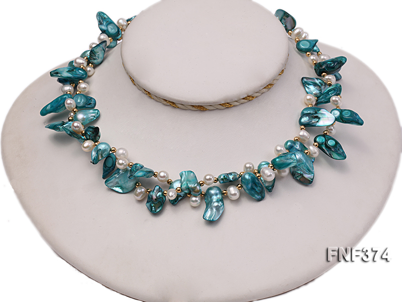 Two-strand White and Cyan Freshwater Pearl Necklace with Round Golden Beads big Image 5