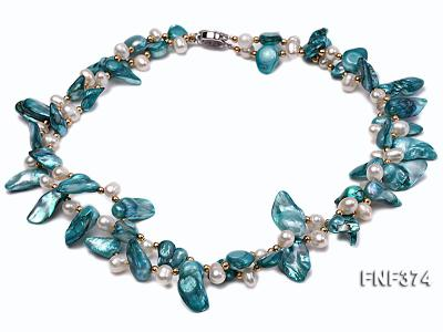 Two-strand White and Cyan Freshwater Pearl Necklace with Round Golden Beads FNF374 Image 1