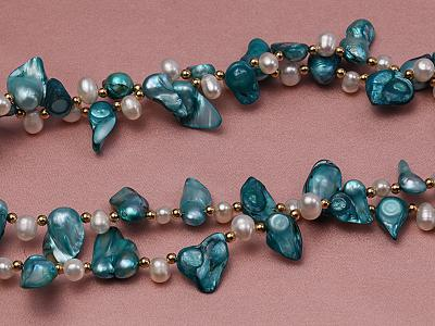 Two-strand White and Cyan Freshwater Pearl Necklace with Round Golden Beads FNF374 Image 2