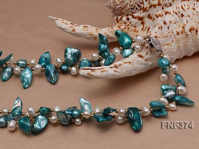 Two-strand White and Cyan Freshwater Pearl Necklace with Round Golden Beads FNF374 Image 4