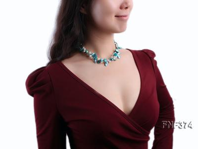 Two-strand White and Cyan Freshwater Pearl Necklace with Round Golden Beads FNF374 Image 6