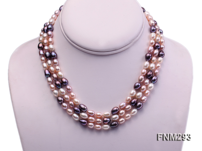 3 strand colorful oval freshwater pearl necklace with sterling sliver clasp big Image 1