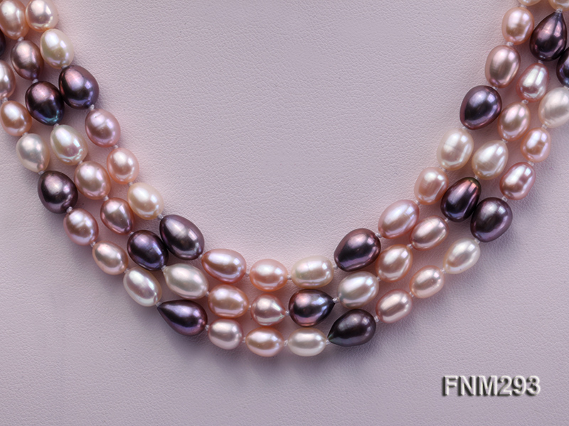 3 strand colorful oval freshwater pearl necklace with sterling sliver clasp big Image 2