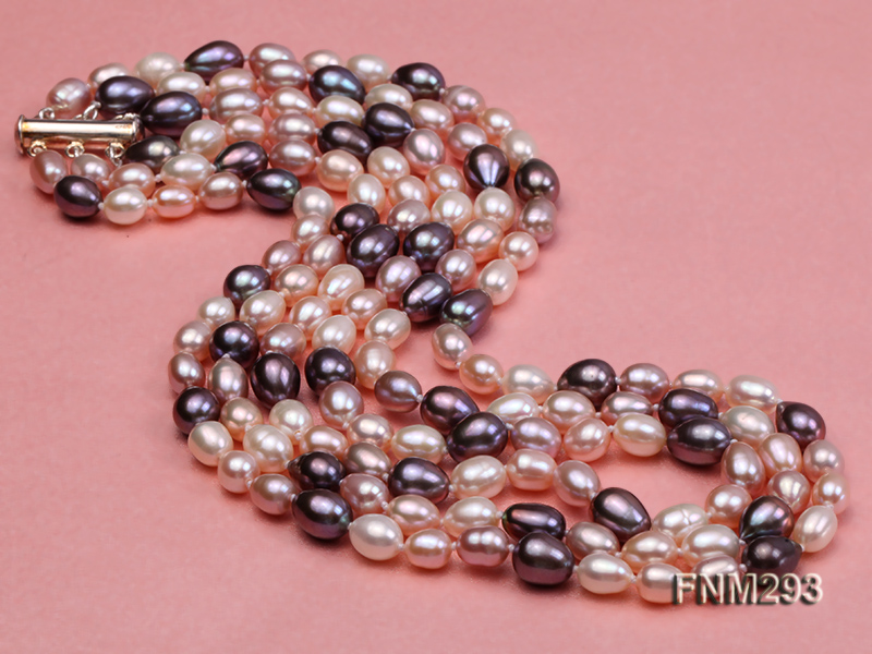 3 strand colorful oval freshwater pearl necklace with sterling sliver clasp big Image 3