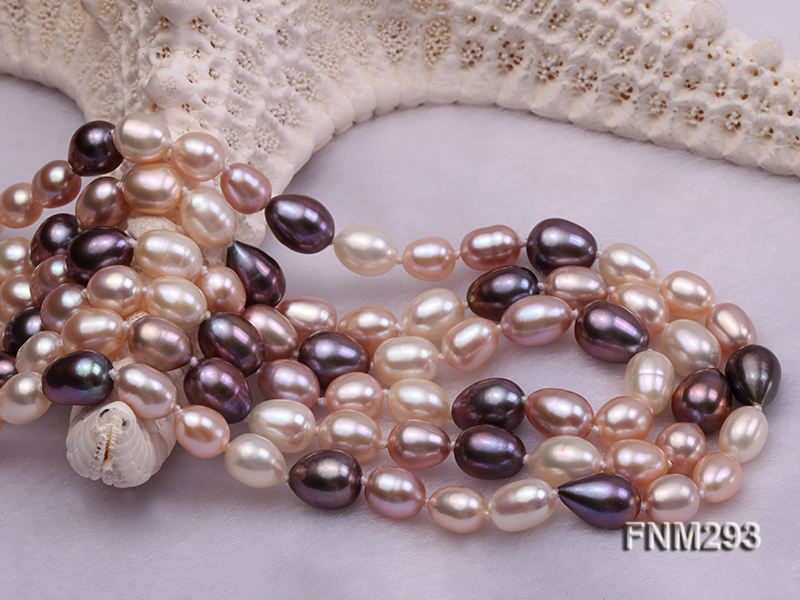 3 strand colorful oval freshwater pearl necklace with sterling sliver clasp big Image 5