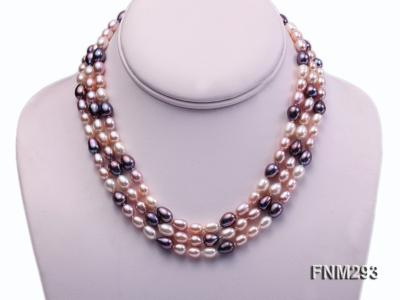 3 strand colorful oval freshwater pearl necklace with sterling sliver clasp FNM293 Image 1