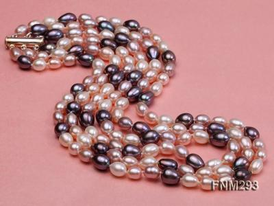 3 strand colorful oval freshwater pearl necklace with sterling sliver clasp FNM293 Image 3