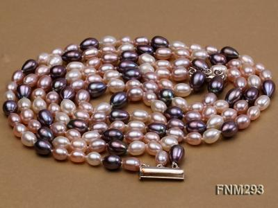 3 strand colorful oval freshwater pearl necklace with sterling sliver clasp FNM293 Image 4