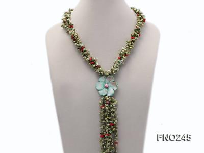 5x9mm green irregular regenerated pearl three strands necklace FNO245 Image 1
