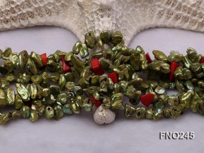 5x9mm green irregular regenerated pearl three strands necklace FNO245 Image 5
