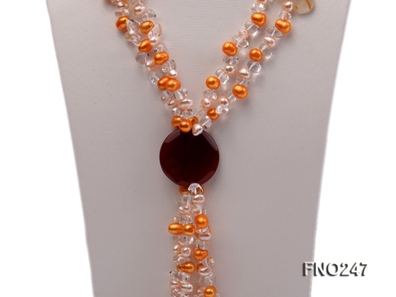 8x10mm yellow oval pearl and crystal and agate necklace big Image 2