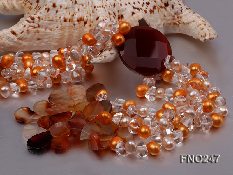 8x10mm yellow oval pearl and crystal and agate necklace big Image 5
