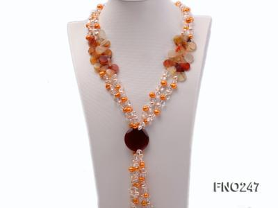 8x10mm yellow oval pearl and crystal and agate necklace FNO247 Image 1