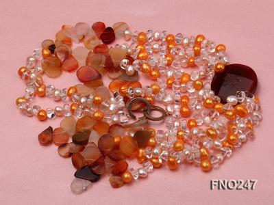 8x10mm yellow oval pearl and crystal and agate necklace FNO247 Image 3