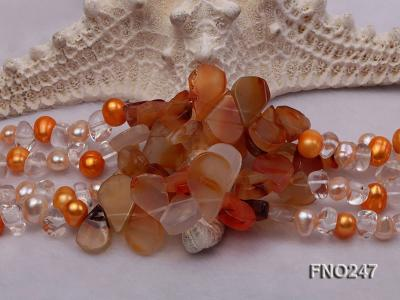 8x10mm yellow oval pearl and crystal and agate necklace FNO247 Image 4