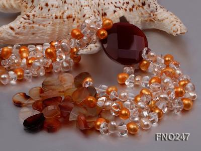 8x10mm yellow oval pearl and crystal and agate necklace FNO247 Image 5
