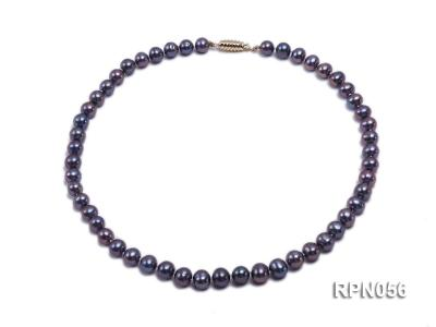 Glamorous Single-strand 8-9mm Puce Round Freshwater Pearl Necklace RPN056 Image 1