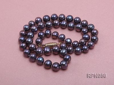 Glamorous Single-strand 8-9mm Puce Round Freshwater Pearl Necklace RPN056 Image 2
