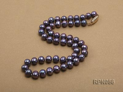 Glamorous Single-strand 8-9mm Puce Round Freshwater Pearl Necklace RPN056 Image 3
