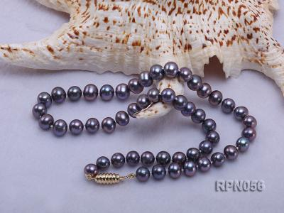 Glamorous Single-strand 8-9mm Puce Round Freshwater Pearl Necklace RPN056 Image 4