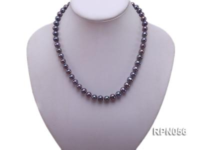 Glamorous Single-strand 8-9mm Puce Round Freshwater Pearl Necklace RPN056 Image 5