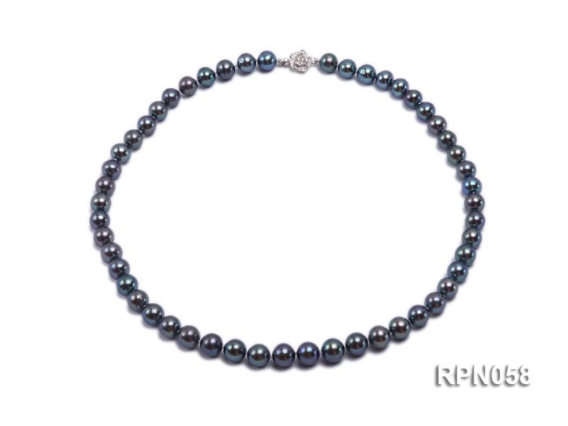 8-9mm Purplish Black Round Freshwater Pearl Necklace with Sterling Silver Clasp big Image 1