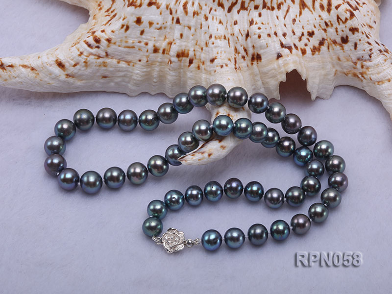 8-9mm Purplish Black Round Freshwater Pearl Necklace with Sterling Silver Clasp big Image 2