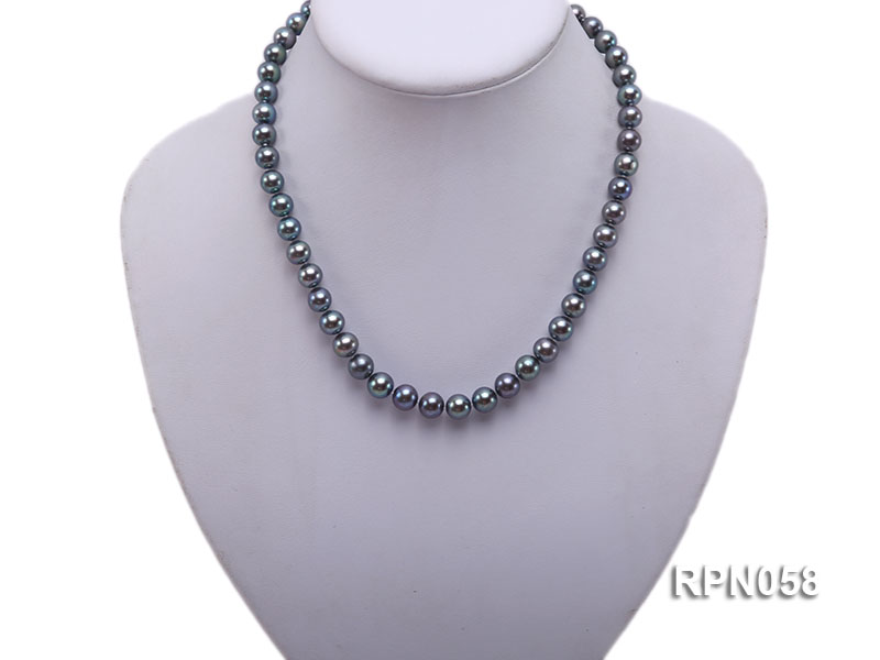 8-9mm Purplish Black Round Freshwater Pearl Necklace with Sterling Silver Clasp big Image 5
