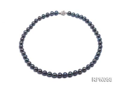 8-9mm Purplish Black Round Freshwater Pearl Necklace with Sterling Silver Clasp RPN058 Image 1